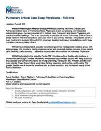 Pulmonary Critical Care Sleep Physician | Western Washington